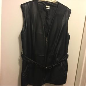 Jackets & Blazers - Womens Black Faux Leather Belted Vest